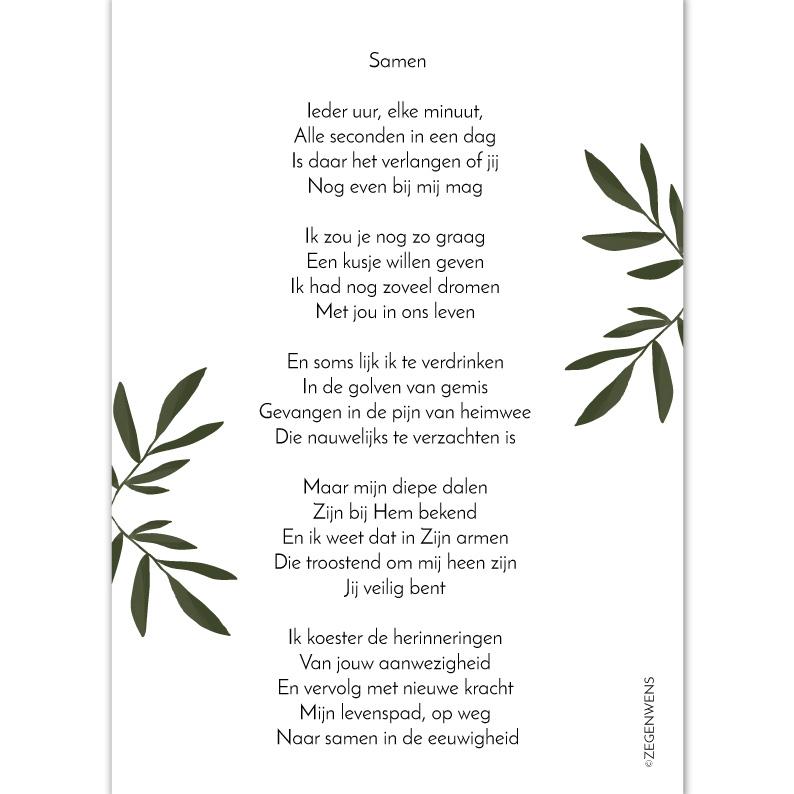 Uitgelezene Samen A5 -gedicht overlijden- – Zegenwens.nl MC-94